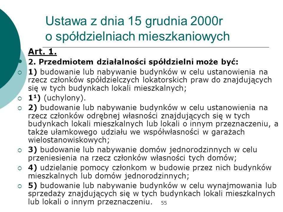 55 Ustawa z dnia 15 grudnia 2000r o spółdzielniach mieszkaniowych Art. 1. 2. Przedmiotem działalności spółdzielni może być: 1) budowanie lub nabywanie