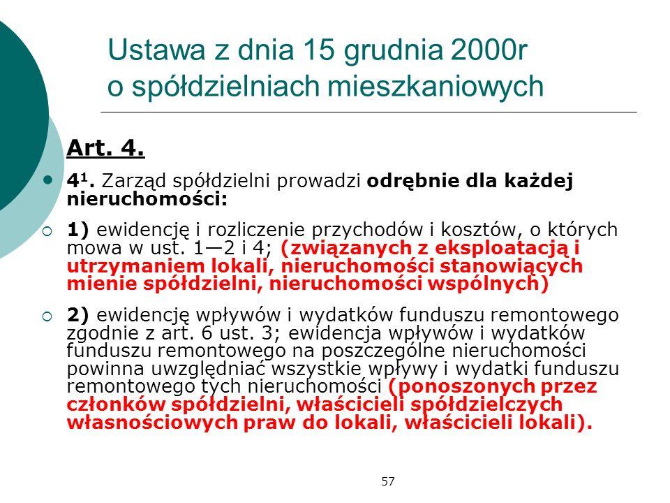 57 Ustawa z dnia 15 grudnia 2000r o spółdzielniach mieszkaniowych Art. 4. 4 1. Zarząd spółdzielni prowadzi odrębnie dla każdej nieruchomości: 1) ewide