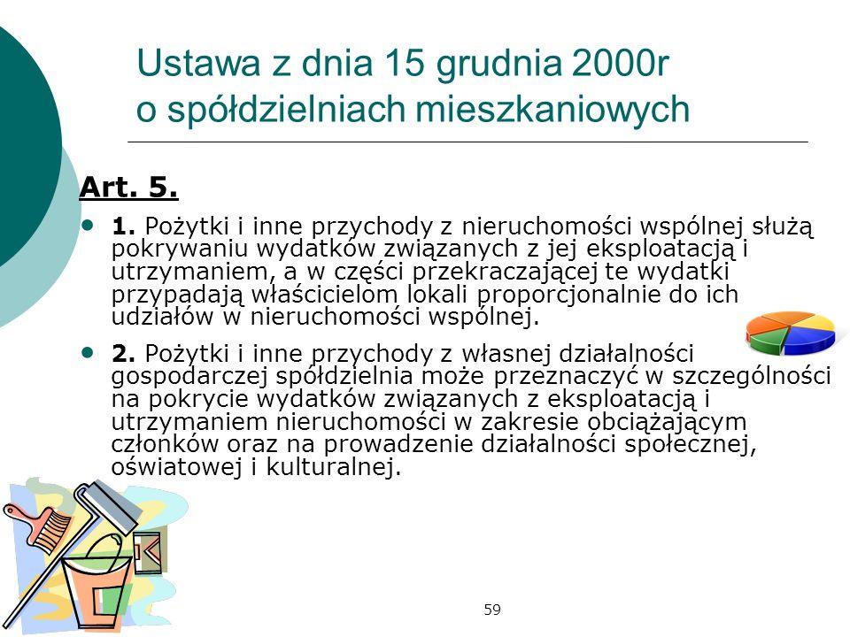 59 Ustawa z dnia 15 grudnia 2000r o spółdzielniach mieszkaniowych Art. 5. 1. Pożytki i inne przychody z nieruchomości wspólnej służą pokrywaniu wydatk