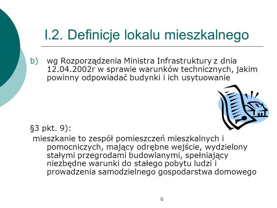 6 I.2. Definicje lokalu mieszkalnego b)wg Rozporządzenia Ministra Infrastruktury z dnia 12.04.2002r w sprawie warunków technicznych, jakim powinny odp