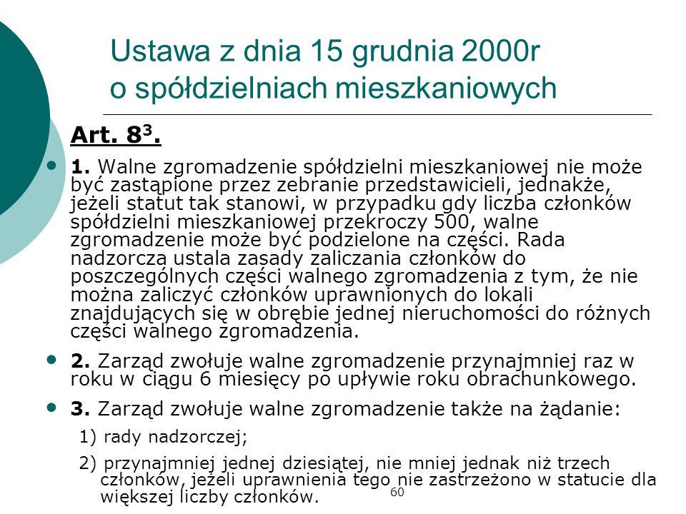 60 Ustawa z dnia 15 grudnia 2000r o spółdzielniach mieszkaniowych Art. 8 3. 1. Walne zgromadzenie spółdzielni mieszkaniowej nie może być zastąpione pr
