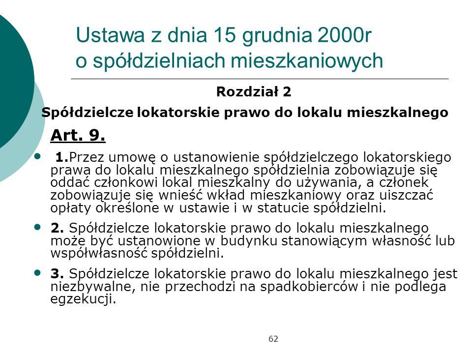 62 Ustawa z dnia 15 grudnia 2000r o spółdzielniach mieszkaniowych Rozdział 2 Spółdzielcze lokatorskie prawo do lokalu mieszkalnego Art. 9. 1.Przez umo