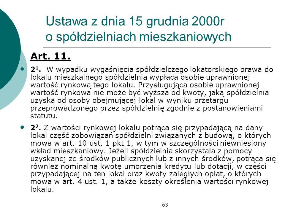 63 Ustawa z dnia 15 grudnia 2000r o spółdzielniach mieszkaniowych Art. 11. 2 1. W wypadku wygaśnięcia spółdzielczego lokatorskiego prawa do lokalu mie