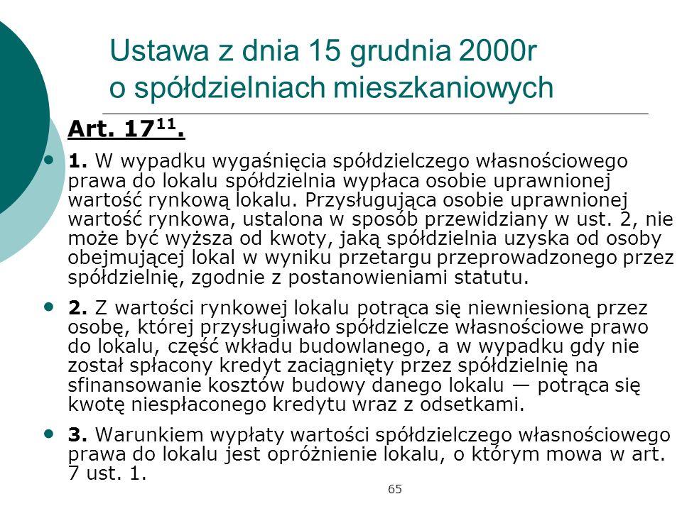 65 Ustawa z dnia 15 grudnia 2000r o spółdzielniach mieszkaniowych Art. 17 11. 1. W wypadku wygaśnięcia spółdzielczego własnościowego prawa do lokalu s