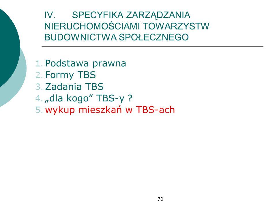 70 IV.SPECYFIKA ZARZĄDZANIA NIERUCHOMOŚCIAMI TOWARZYSTW BUDOWNICTWA SPOŁECZNEGO 1. Podstawa prawna 2. Formy TBS 3. Zadania TBS 4. dla kogo TBS-y ? 5.