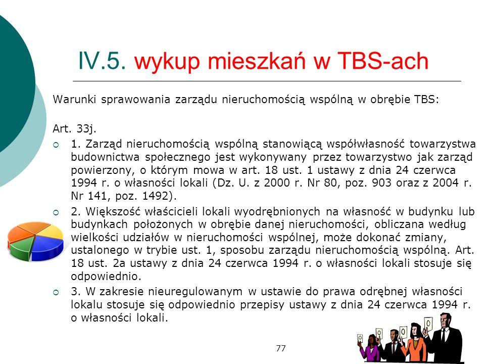 77 IV.5. wykup mieszkań w TBS-ach Warunki sprawowania zarządu nieruchomością wspólną w obrębie TBS: Art. 33j. 1. Zarząd nieruchomością wspólną stanowi