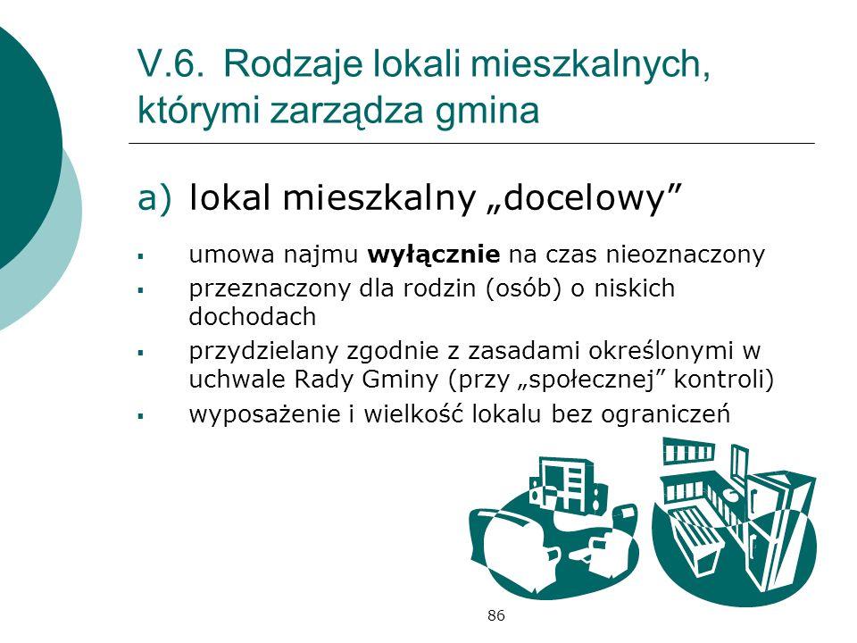 86 V.6.Rodzaje lokali mieszkalnych, którymi zarządza gmina a)lokal mieszkalny docelowy umowa najmu wyłącznie na czas nieoznaczony przeznaczony dla rod