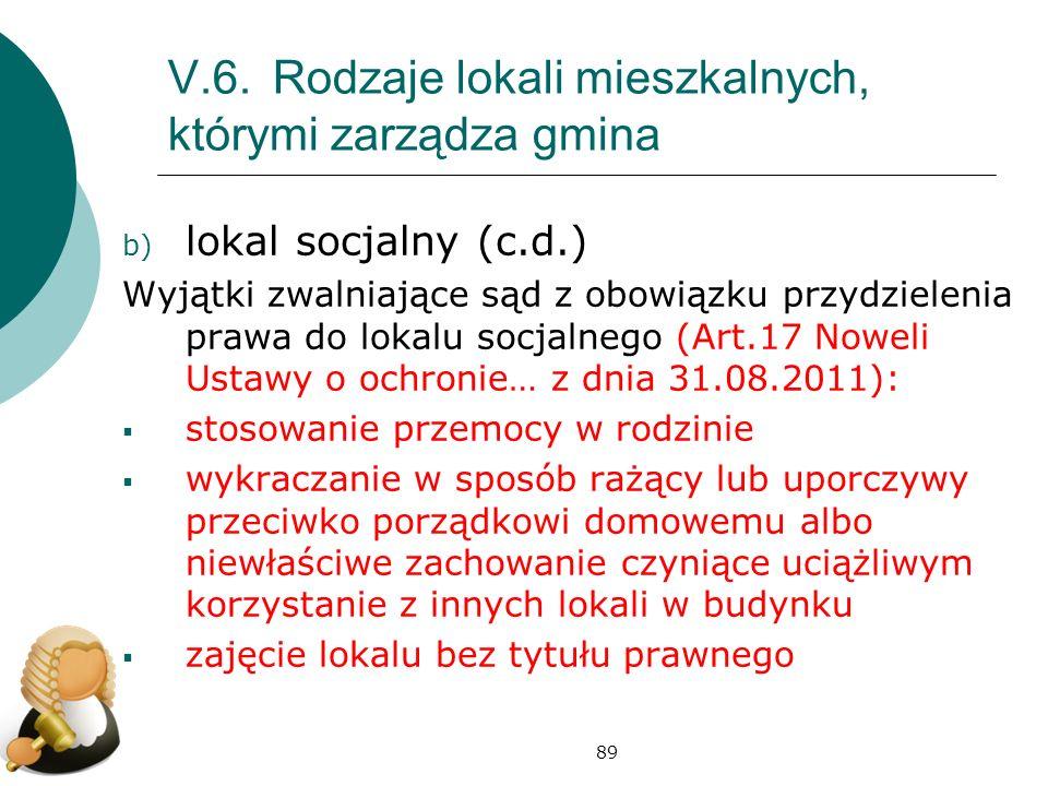 89 V.6.Rodzaje lokali mieszkalnych, którymi zarządza gmina b) lokal socjalny (c.d.) Wyjątki zwalniające sąd z obowiązku przydzielenia prawa do lokalu
