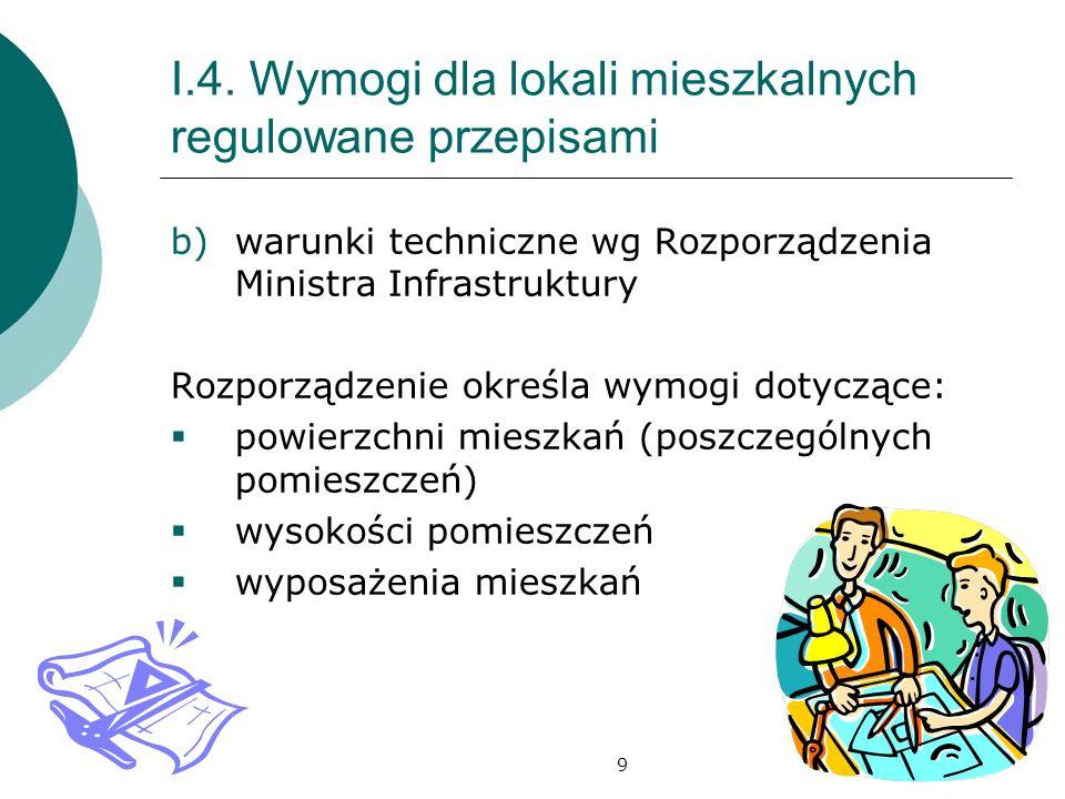 9 I.4. Wymogi dla lokali mieszkalnych regulowane przepisami b)warunki techniczne wg Rozporządzenia Ministra Infrastruktury Rozporządzenie określa wymo