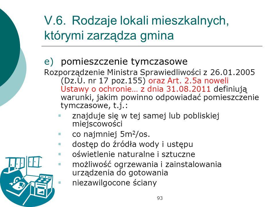 93 V.6.Rodzaje lokali mieszkalnych, którymi zarządza gmina e)pomieszczenie tymczasowe Rozporządzenie Ministra Sprawiedliwości z 26.01.2005 (Dz.U. nr 1
