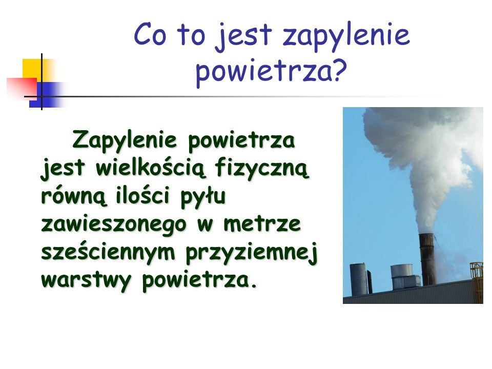 Co to jest zapylenie powietrza? Zapylenie powietrza jest wielkością fizyczną równą ilości pyłu zawieszonego w metrze sześciennym przyziemnej warstwy p