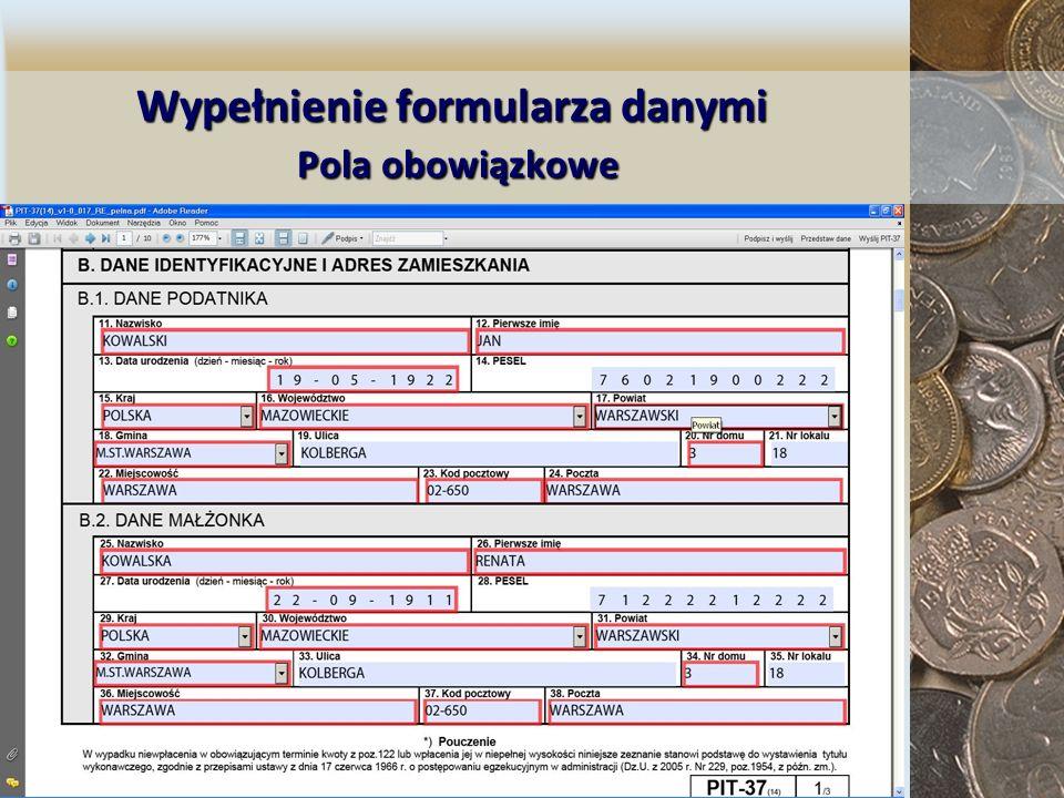 Wypełnienie formularza danymi Pola obowiązkowe