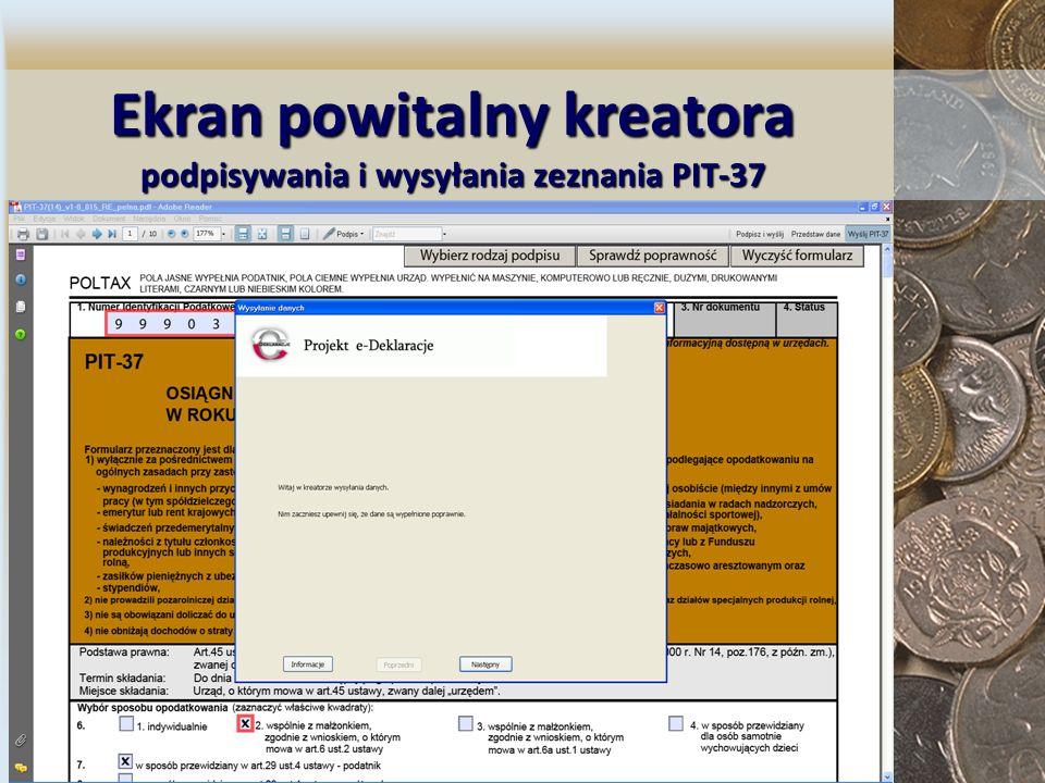 Ekranpowitalny kreatora podpisywania i wysyłania zeznania PIT-37 Ekran powitalny kreatora podpisywania i wysyłania zeznania PIT-37