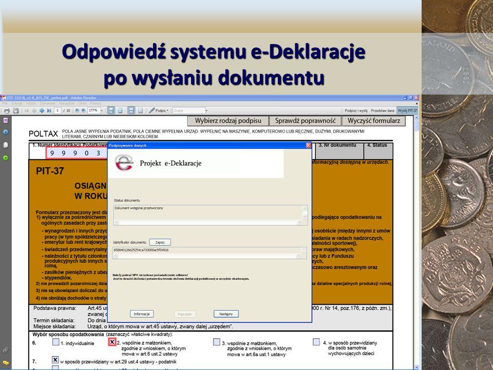 Odpowiedź systemu e-Deklaracje po wysłaniu dokumentu