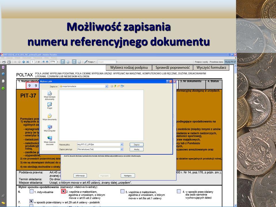 Możliwość zapisania numeru referencyjnego dokumentu