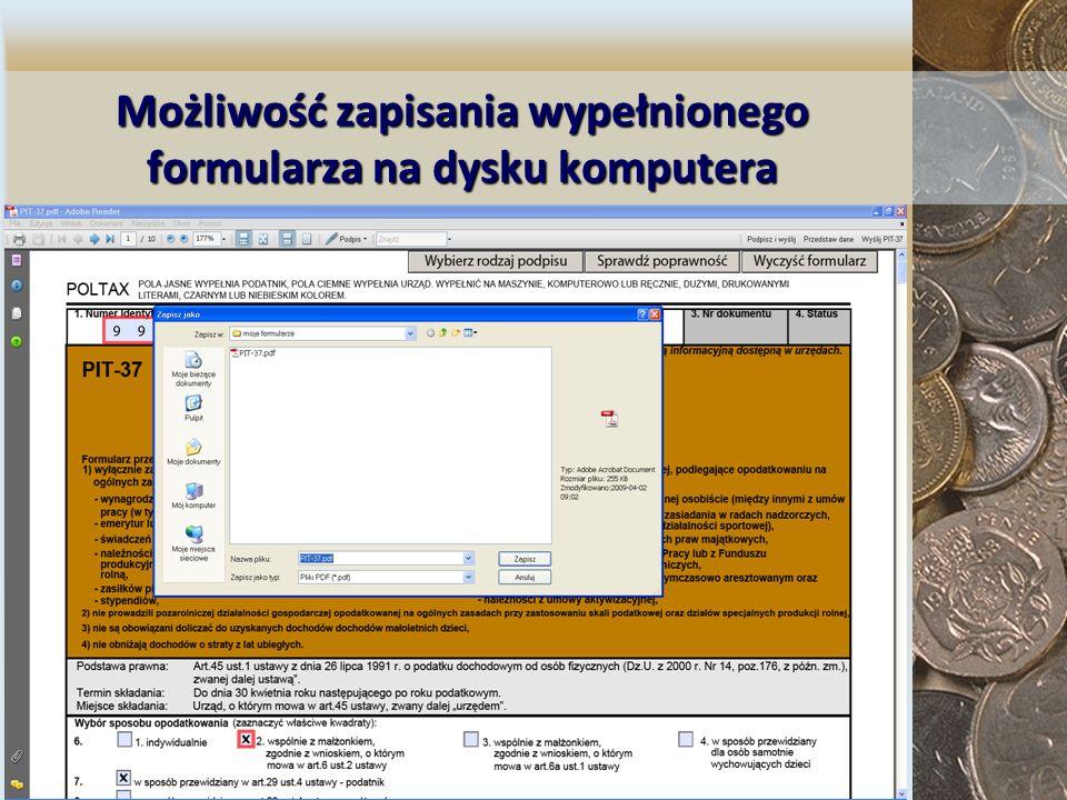 Możliwość zapisania wypełnionego formularza na dysku komputera