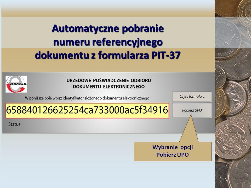 Automatycznepobranie numeru referencyjnego dokumentu z formularza PIT-37 Automatyczne pobranie numeru referencyjnego dokumentu z formularza PIT-37 Wyb