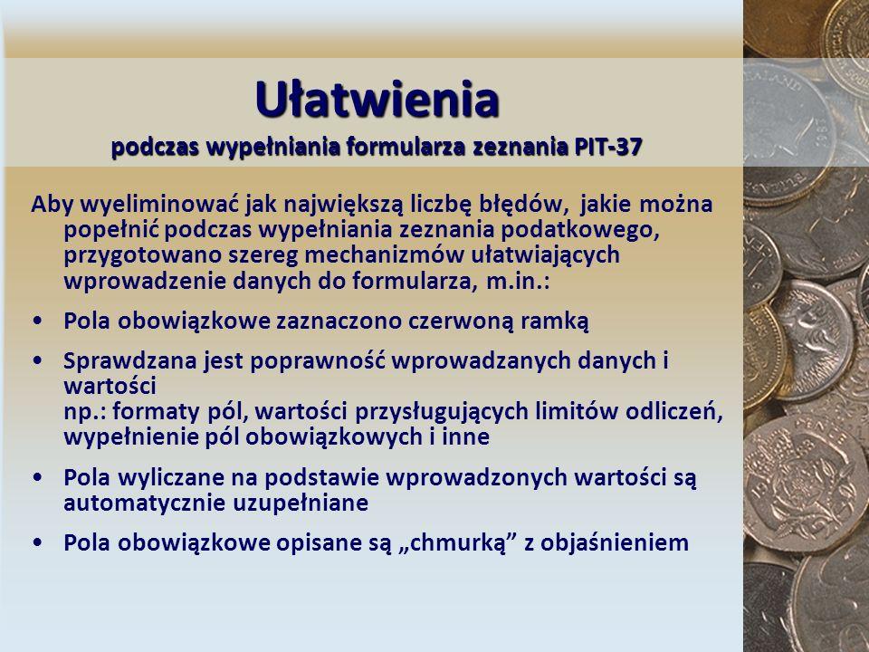 Wymagania niezbędne do składania zeznania za pomocą interaktywnego formularza PIT-37 Komputer z zainstalowanym systemem operacyjnym Windows (2000, XP lub Vista) i skonfigurowanym dostępem do Internetu Zainstalowane oprogramowanie Adobe Reader w wersji 8.0 lub wyższej (może być wersja polska lub angielska) - wersja do pobrania na stronie www: http://www.adobe.com/pl lub http://www.adobe.com/products/acrobat/readstep2.html Pobrana ze strony e-Deklaracji wtyczka do programu Adobe Reader, zainstalowana w systemie Pobrane ze strony e-Deklaracji formularze interaktywne PIT- 37 oraz UPO