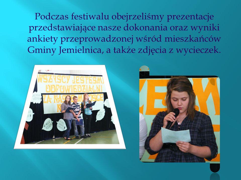 Podczas festiwalu obejrzeliśmy prezentacje przedstawiające nasze dokonania oraz wyniki ankiety przeprowadzonej wśród mieszkańców Gminy Jemielnica, a t