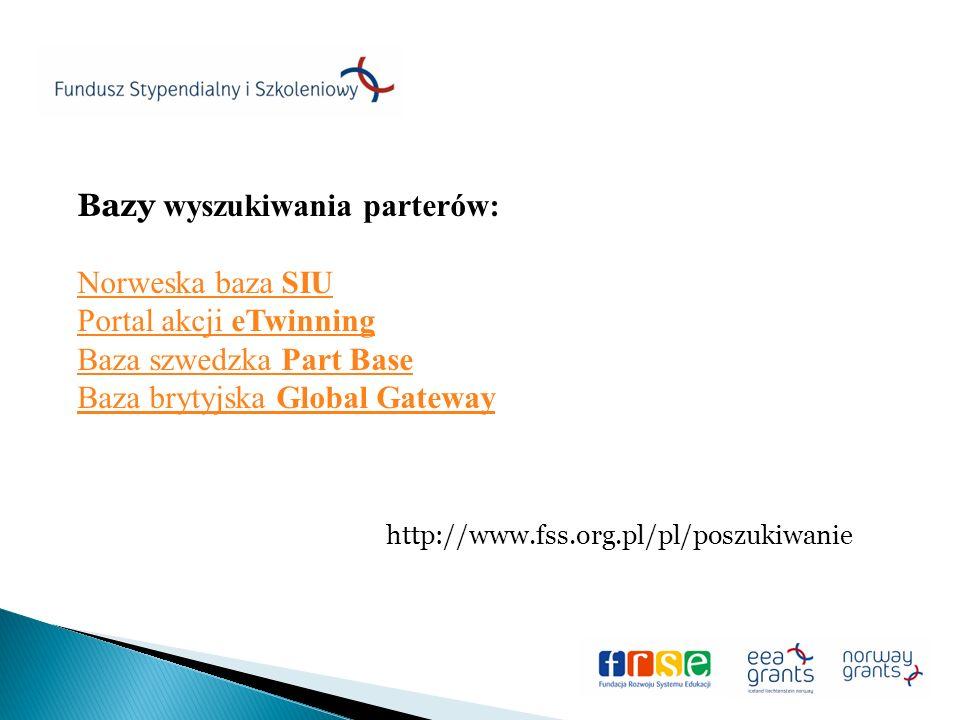 Bazy wyszukiwania parterów: Norweska baza SIU Portal akcji eTwinning Baza szwedzka Part Base Baza brytyjska Global Gateway http://www.fss.org.pl/pl/poszukiwanie