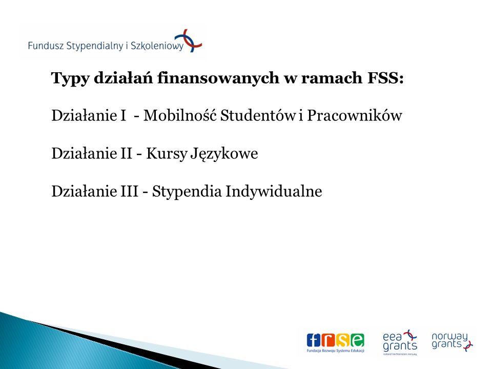 Typy działań finansowanych w ramach FSS: Działanie I - Mobilność Studentów i Pracowników Działanie II - Kursy Językowe Działanie III - Stypendia Indywidualne