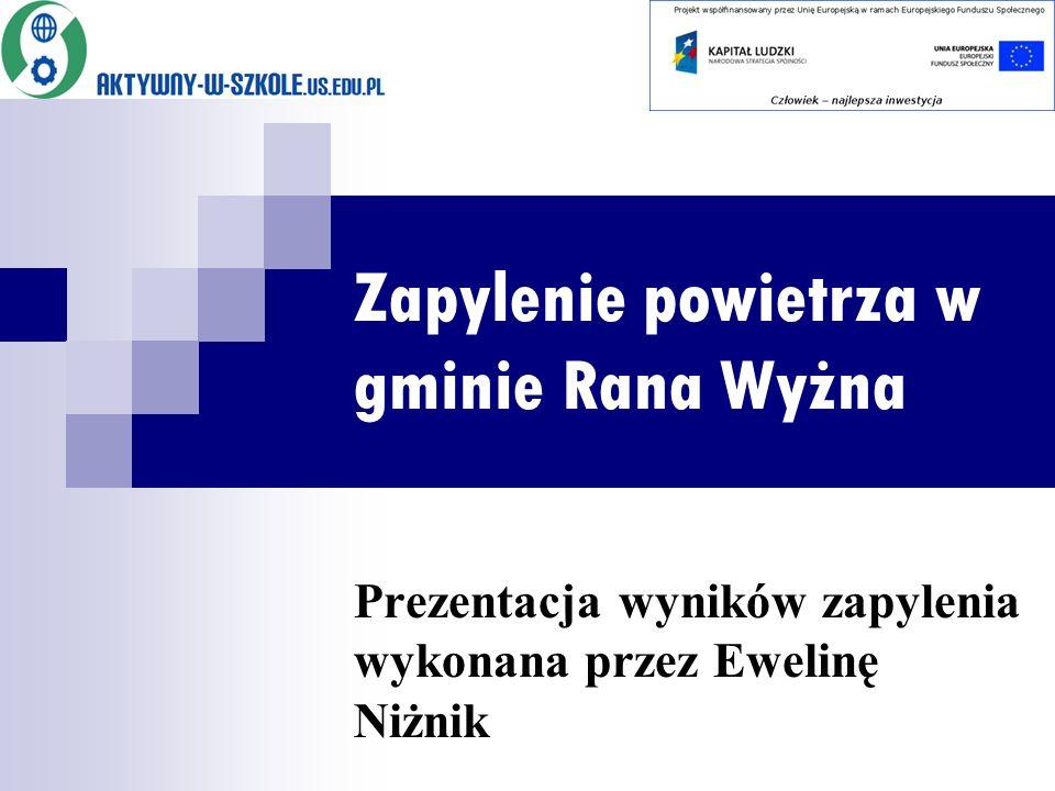 Zapylenie powietrza w gminie Rana Wyżna Prezentacja wyników zapylenia wykonana przez Ewelinę Niżnik