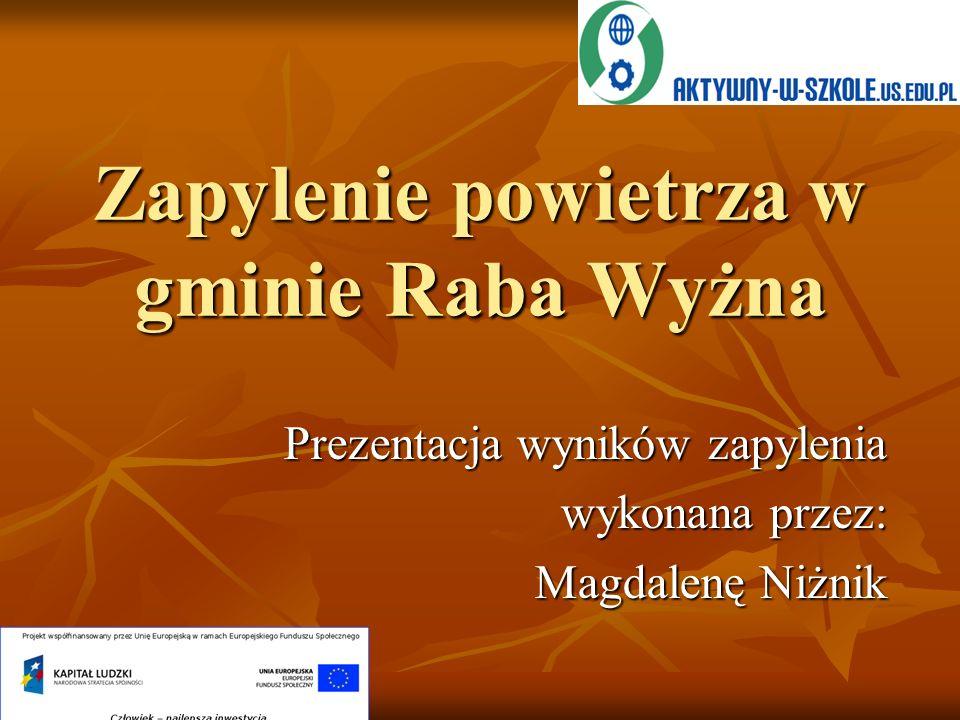 Zapylenie powietrza w gminie Raba Wyżna Prezentacja wyników zapylenia wykonana przez: Magdalenę Niżnik