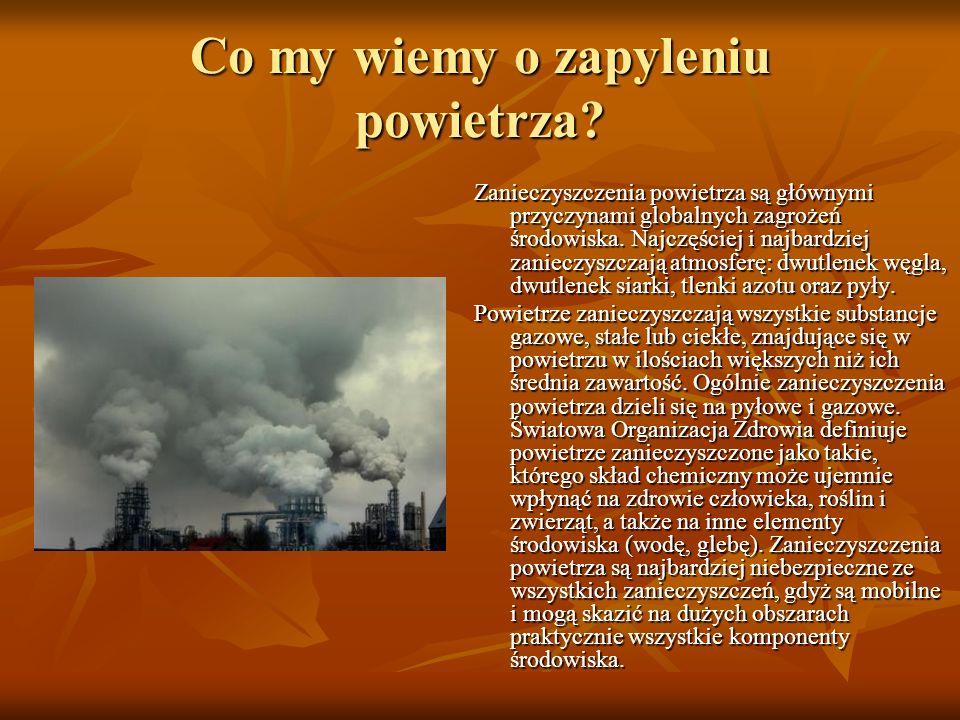 Co my wiemy o zapyleniu powietrza? Zanieczyszczenia powietrza są głównymi przyczynami globalnych zagrożeń środowiska. Najczęściej i najbardziej zaniec