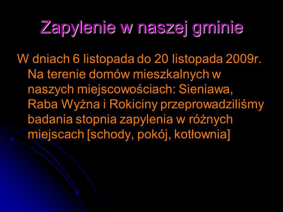 Zapylenie w naszej gminie W dniach 6 listopada do 20 listopada 2009r. Na terenie domów mieszkalnych w naszych miejscowościach: Sieniawa, Raba Wyżna i