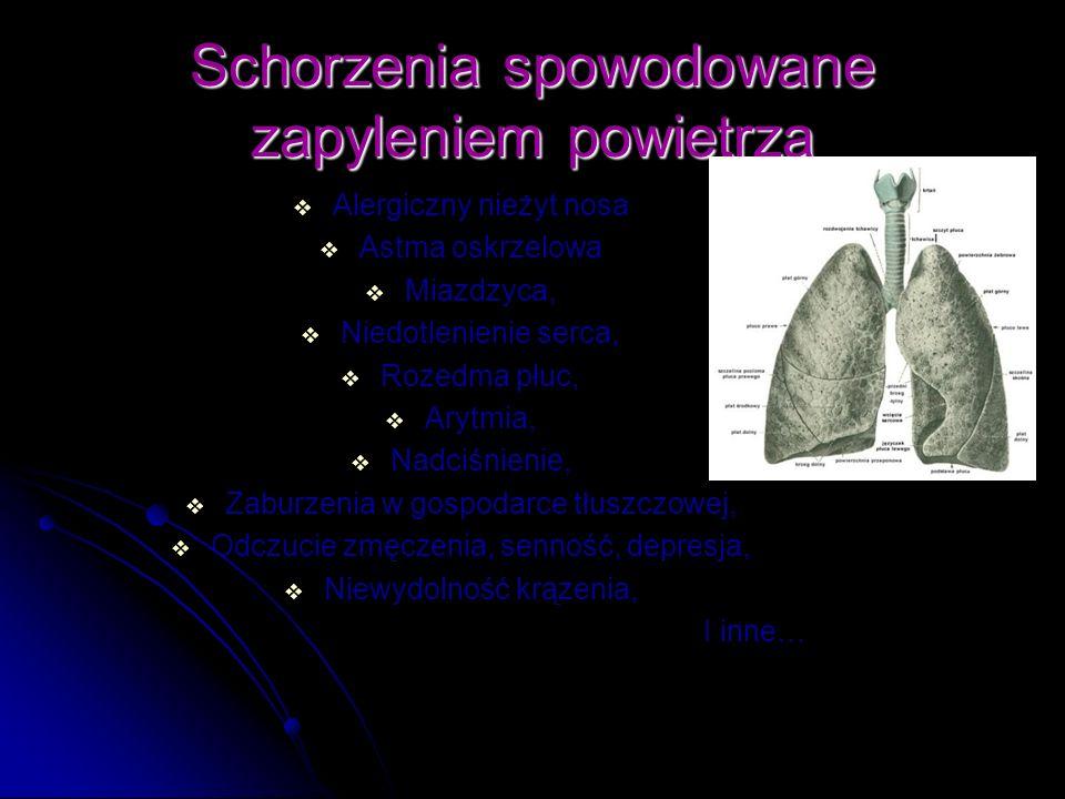 Schorzenia spowodowane zapyleniem powietrza Alergiczny nieżyt nosa Astma oskrzelowa Miazdzyca, Niedotlenienie serca, Rozedma płuc, Arytmia, Nadciśnien