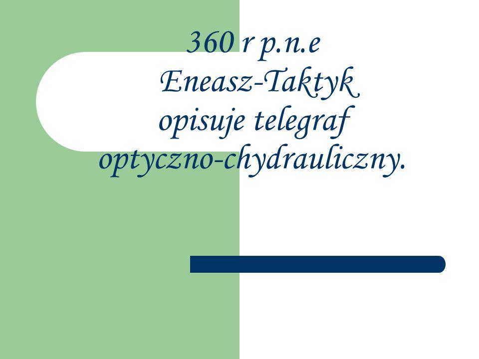360 r p.n.e Eneasz-Taktyk opisuje telegraf optyczno-chydrauliczny.