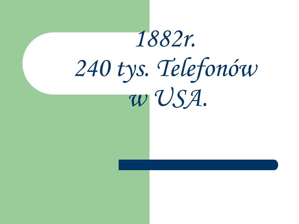 1882r. 240 tys. Telefonów w USA.