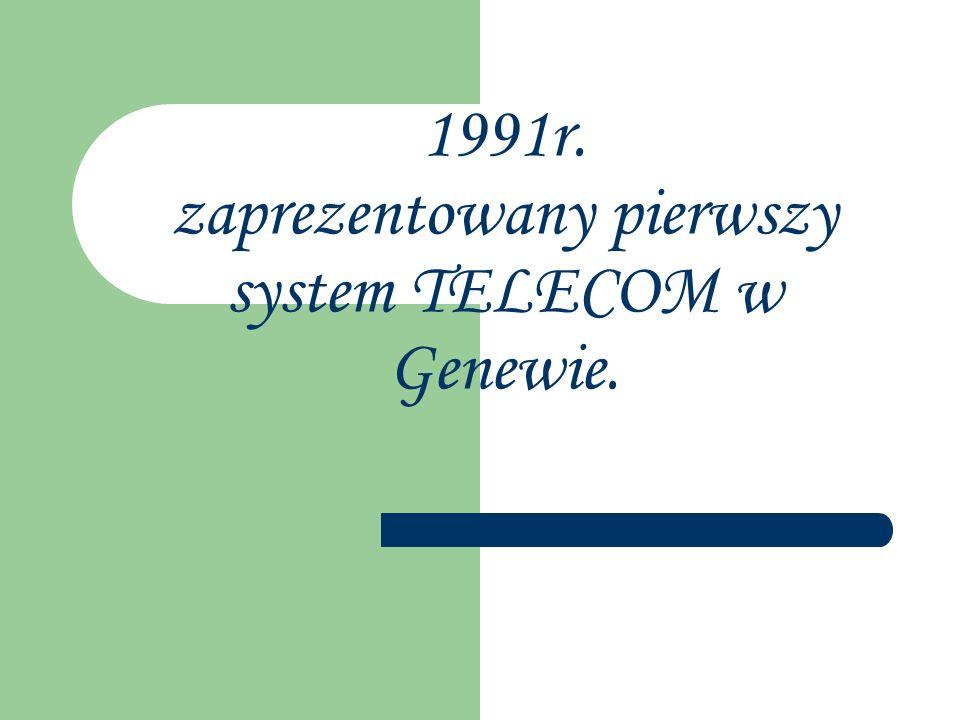 1991r. zaprezentowany pierwszy system TELECOM w Genewie.