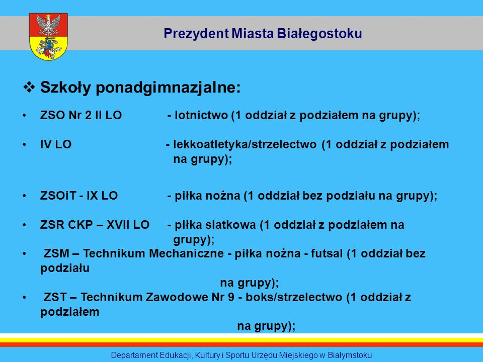 Prezydent Miasta Białegostoku Departament Edukacji, Kultury i Sportu Urzędu Miejskiego w Białymstoku Szkoły ponadgimnazjalne: ZSO Nr 2 II LO- lotnictw