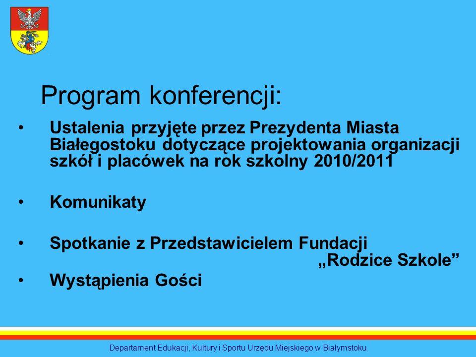 Ustalenia przyjęte przez Prezydenta Miasta Białegostoku dotyczące projektowania organizacji szkół i placówek na rok szkolny 2010/2011 Komunikaty Spotk