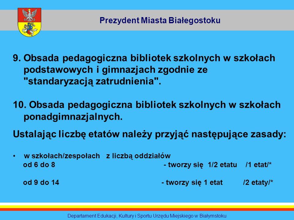 Prezydent Miasta Białegostoku Departament Edukacji, Kultury i Sportu Urzędu Miejskiego w Białymstoku 9. Obsada pedagogiczna bibliotek szkolnych w szko