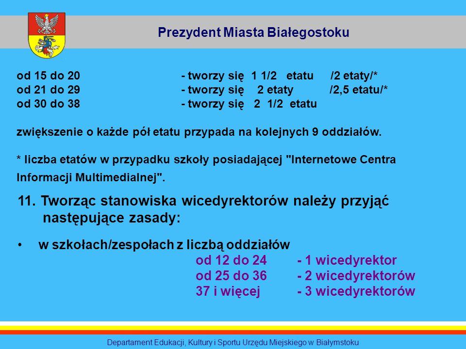 Prezydent Miasta Białegostoku Departament Edukacji, Kultury i Sportu Urzędu Miejskiego w Białymstoku od 15 do 20 - tworzy się 1 1/2 etatu /2 etaty/* o