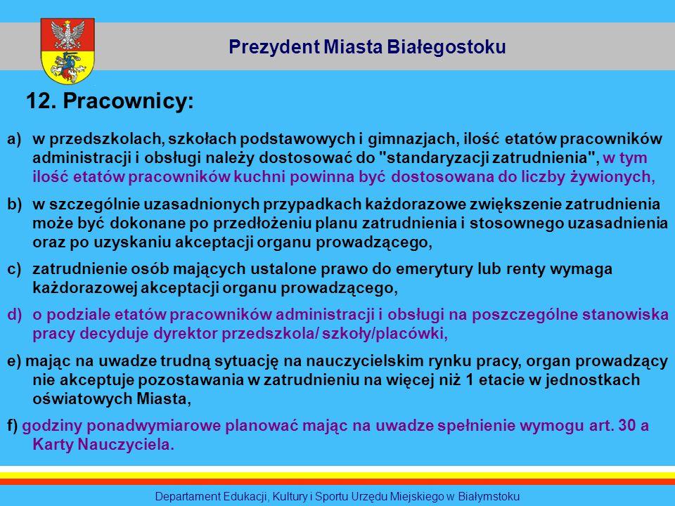 Departament Edukacji, Kultury i Sportu Urzędu Miejskiego w Białymstoku Prezydent Miasta Białegostoku 12. Pracownicy: a)w przedszkolach, szkołach podst