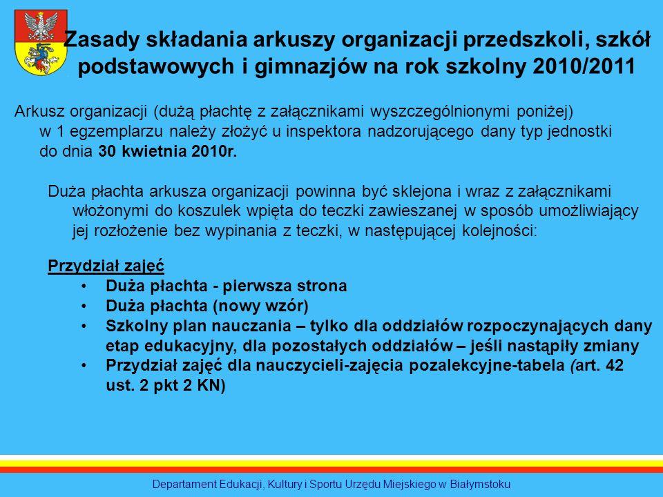 Departament Edukacji, Kultury i Sportu Urzędu Miejskiego w Białymstoku Zasady składania arkuszy organizacji przedszkoli, szkół podstawowych i gimnazjó