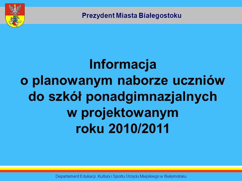 Prezydent Miasta Białegostoku Departament Edukacji, Kultury i Sportu Urzędu Miejskiego w Białymstoku Informacja o planowanym naborze uczniów do szkół