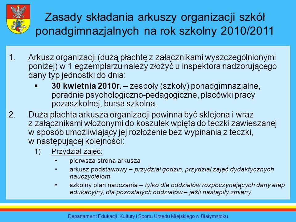 Departament Edukacji, Kultury i Sportu Urzędu Miejskiego w Białymstoku Zasady składania arkuszy organizacji szkół ponadgimnazjalnych na rok szkolny 20