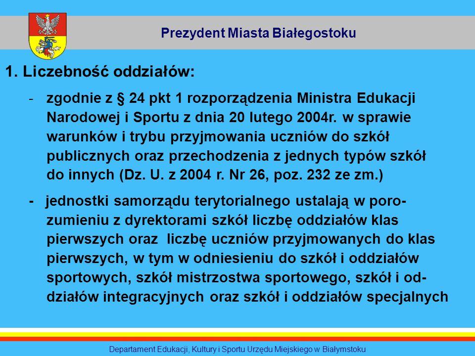 Prezydent Miasta Białegostoku Departament Edukacji, Kultury i Sportu Urzędu Miejskiego w Białymstoku 1.Liczebność oddziałów: -zgodnie z § 24 pkt 1 roz