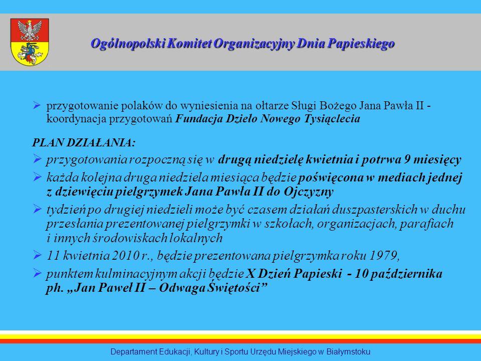 przygotowanie polaków do wyniesienia na ołtarze Sługi Bożego Jana Pawła II - koordynacja przygotowań Fundacja Dzieło Nowego Tysiąclecia PLAN DZIAŁANIA