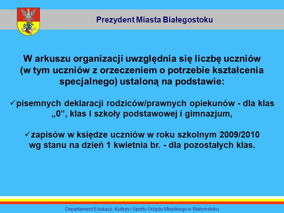 Prezydent Miasta Białegostoku Departament Edukacji, Kultury i Sportu Urzędu Miejskiego w Białymstoku W arkuszu organizacji uwzględnia się liczbę uczni