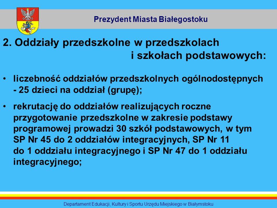 Prezydent Miasta Białegostoku Departament Edukacji, Kultury i Sportu Urzędu Miejskiego w Białymstoku 2. Oddziały przedszkolne w przedszkolach i szkoła