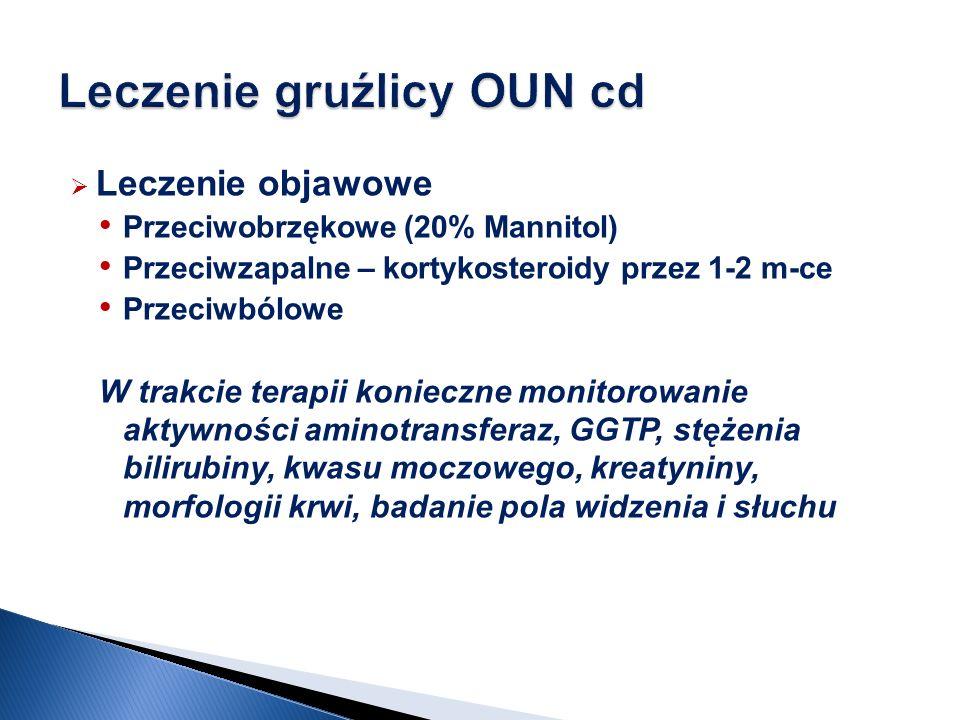 Leczenie objawowe Przeciwobrzękowe (20% Mannitol) Przeciwzapalne – kortykosteroidy przez 1-2 m-ce Przeciwbólowe W trakcie terapii konieczne monitorowanie aktywności aminotransferaz, GGTP, stężenia bilirubiny, kwasu moczowego, kreatyniny, morfologii krwi, badanie pola widzenia i słuchu