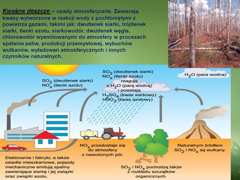 Kwaśne deszcze – opady atmosferyczne. Zawierają kwasy wytworzone w reakcji wody z pochłoniętymi z powietrza gazami, takimi jak: dwutlenek siarki, trój