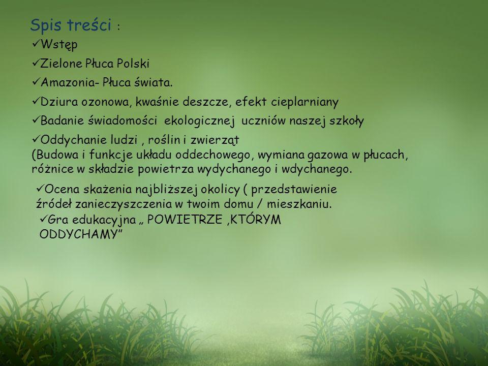 Spis treści : Wstęp Zielone Płuca Polski Amazonia- Płuca świata. Dziura ozonowa, kwaśnie deszcze, efekt cieplarniany Badanie świadomości ekologicznej