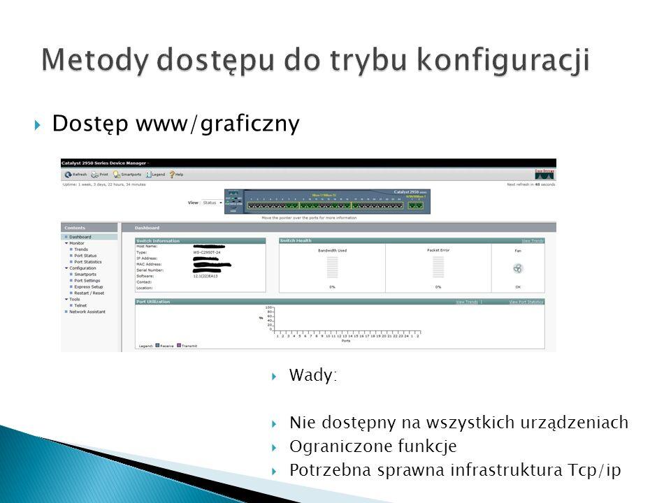 Dostęp www/graficzny Wady: Nie dostępny na wszystkich urządzeniach Ograniczone funkcje Potrzebna sprawna infrastruktura Tcp/ip