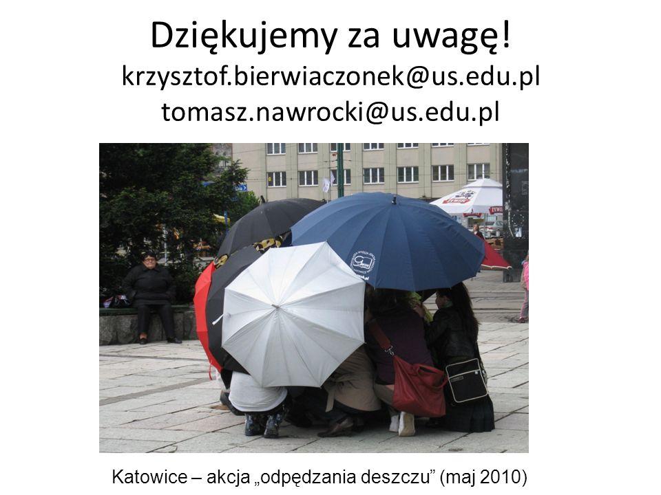 Dziękujemy za uwagę! krzysztof.bierwiaczonek@us.edu.pl tomasz.nawrocki@us.edu.pl Katowice – akcja odpędzania deszczu (maj 2010)